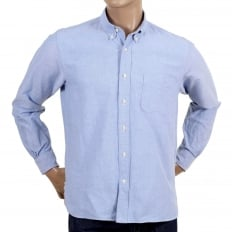 Regular Fit One Wash Light Cotton SC26475A Oxford Classic Styled Long Sleeved Blue Shirt