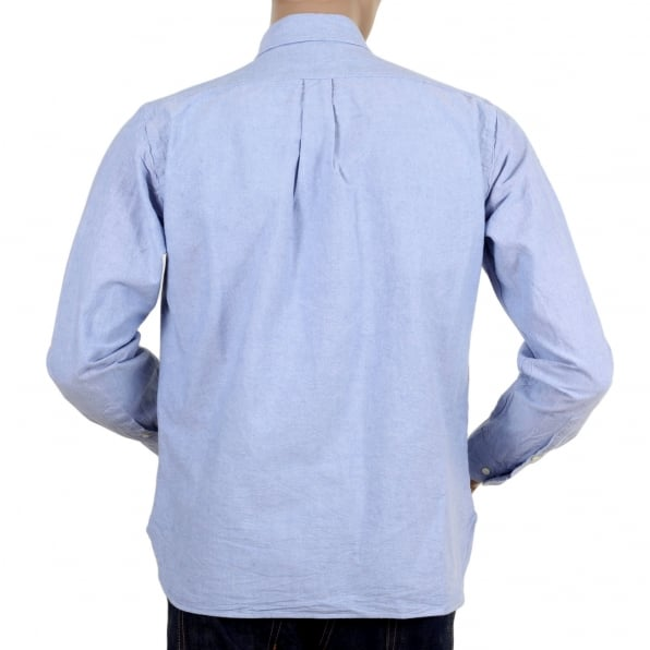 SUGAR CANE Regular Fit One Wash Light Cotton SC26475A Oxford Classic Styled Long Sleeved Blue Shirt