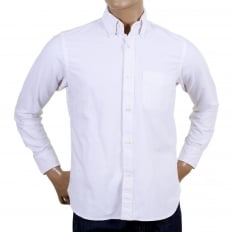 Slim Fit White SC25910 Oxford Long Sleeve Cotton Shirt with Rounded Tail and Butterfly Shell Buttons
