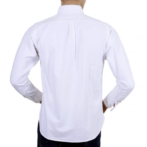 SUGAR CANE Slim Fit White SC25910 Oxford Long Sleeve Cotton Shirt with Rounded Tail and Butterfly Shell Buttons