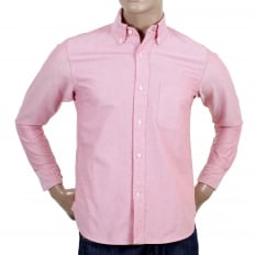 Slimmer Fit Long Sleeve Cotton SC25910 Button Down Red Oxford Shirt with Single Chest Pocket and Pleated Back