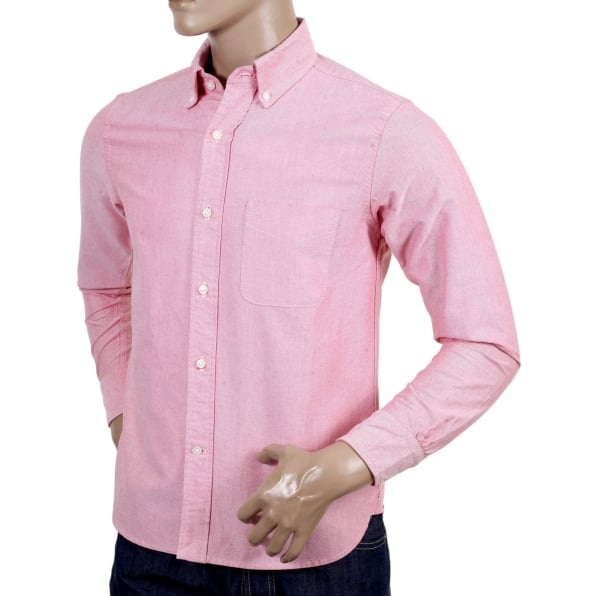 SUGAR CANE Slimmer Fit Long Sleeve Cotton SC25910 Button Down Red Oxford Shirt with Single Chest Pocket and Pleated Back