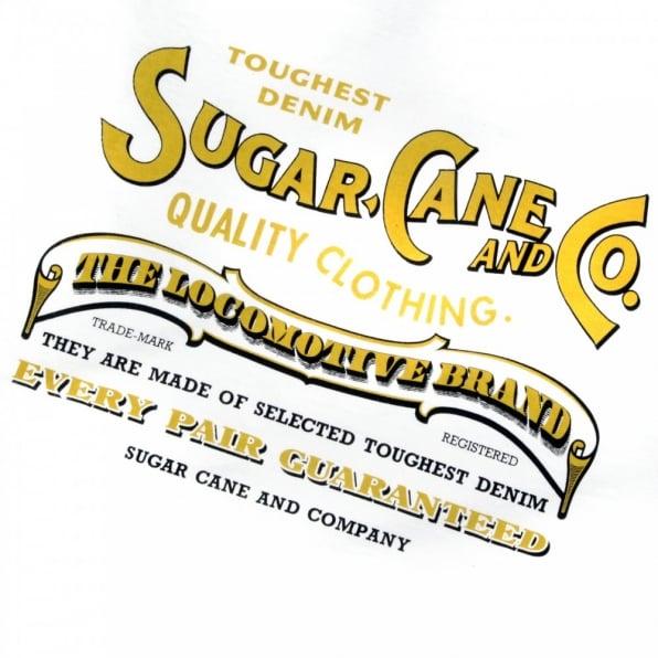 SUGAR CANE Tubular Knit Mens Crew Neck Regular Fit T-shirt in White with Large Logo Print SC73438