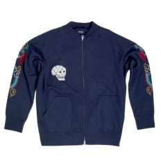 Sugarcane Tailor Toyo Mens Regular Fit Hand Embroidered TT67433 Zipped Suka Sweat Jacket in Blue CANE7467