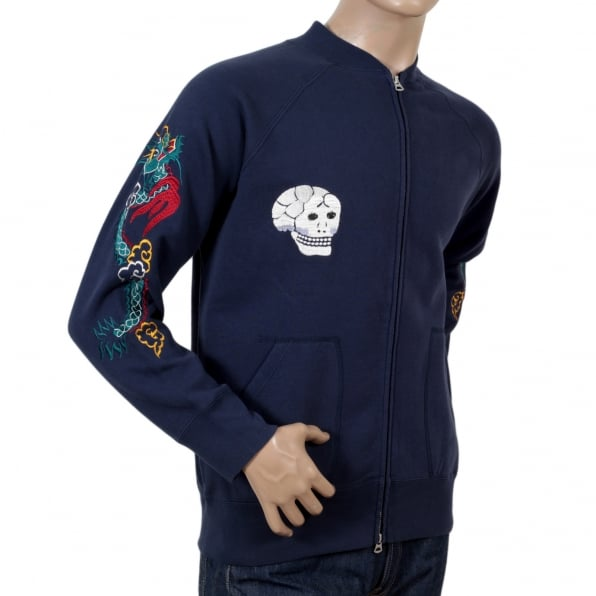 TAILOR TOYO Sugarcane Tailor Toyo Mens Regular Fit Hand Embroidered TT67433 Zipped Suka Sweat Jacket in Blue CANE7467