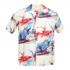 Sun Surf Beige Rayon Made Short Sleeve SS37793 Regular Fit Mens Hawaiian Shirt with Pikake Symbol of Hawaii Print