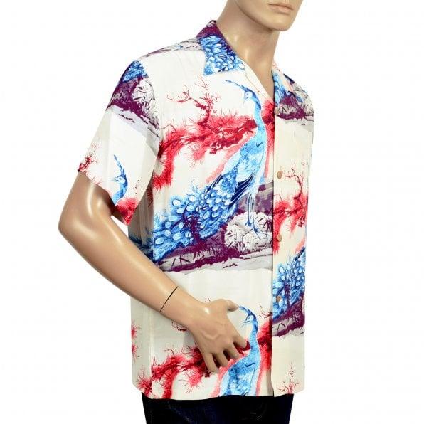 SUN SURF Beige Rayon Made Short Sleeve SS37793 Regular Fit Mens Hawaiian Shirt with Pikake Symbol of Hawaii Print