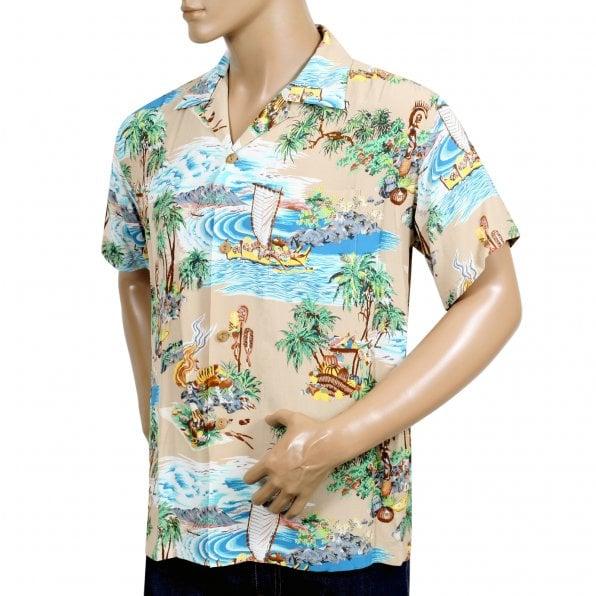 SUN SURF Beige Rayon Short Sleeve SS37781 Regular Fit Mens Hawaiian Shirt with Island Chronicle Print