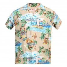 Sun Surf Beige Rayon Short Sleeve SS37781 Regular Fit Mens Hawaiian Shirt with Island Chronicle Print