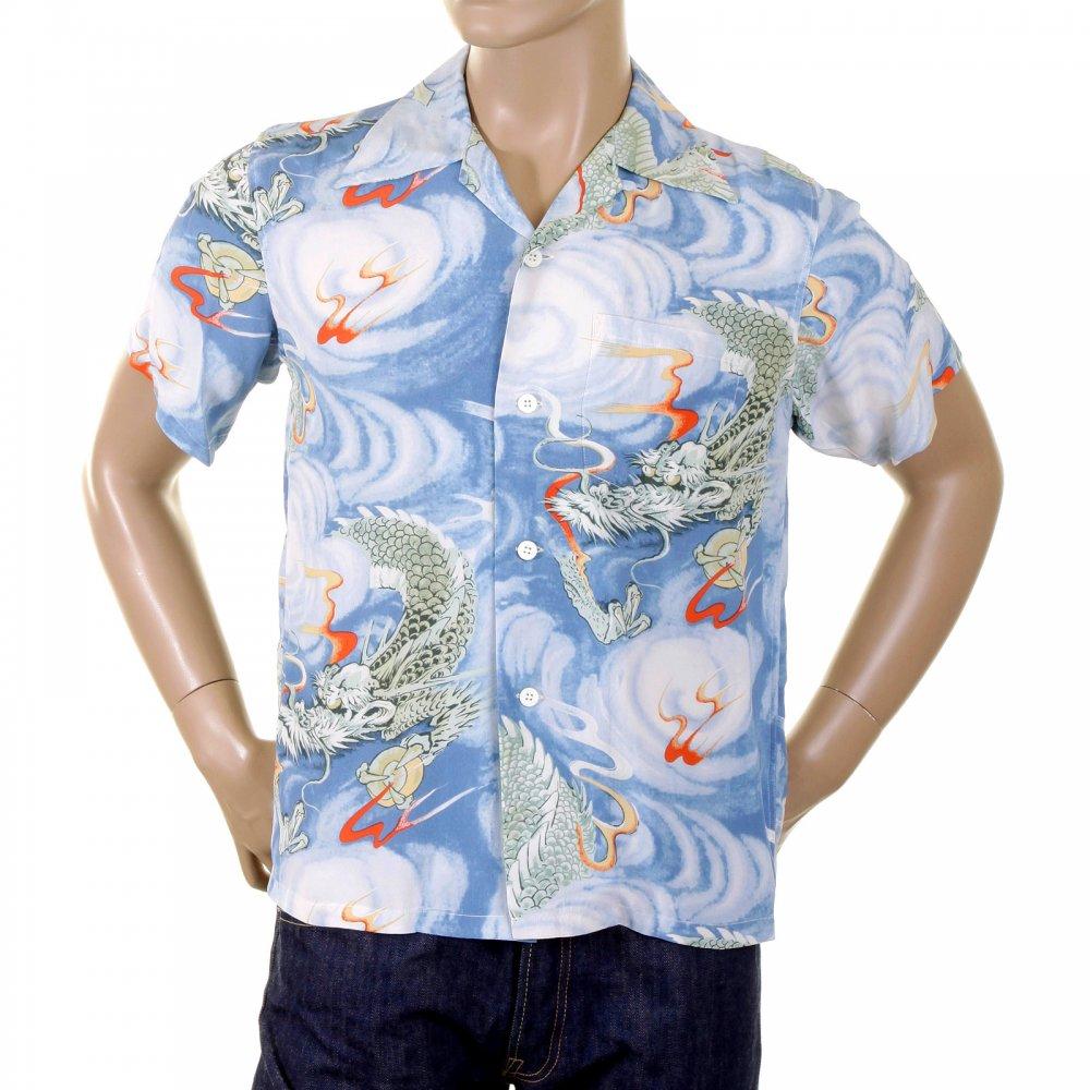 0202d74dd1f7 ... SUN SURF Blue Tour Dragon Print Regular Fit Cuban Collar Short Sleeve  Hawaiian Shirt SS34464 ...