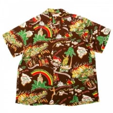 Brown History of the Islands Print Regular Fit Cuban Collar Short Sleeve Hawaiian Shirt SS33324