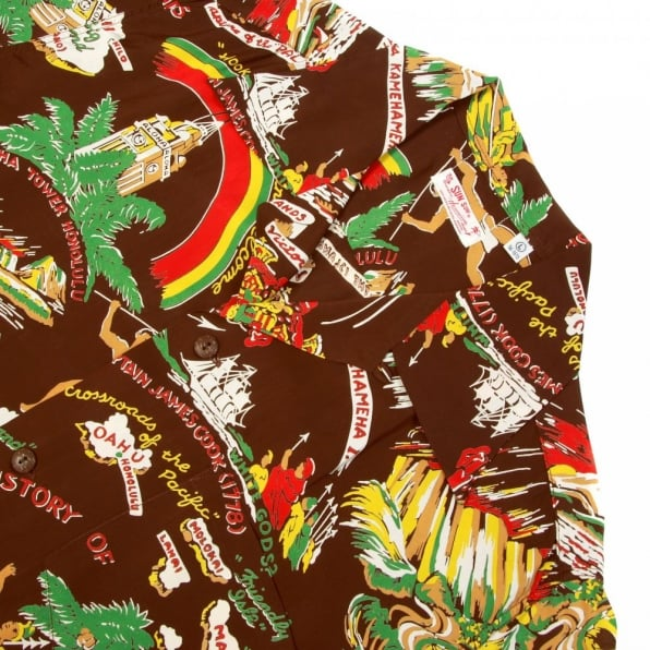 SUN SURF Brown History of the Islands Print Regular Fit Cuban Collar Short Sleeve Hawaiian Shirt SS33324