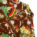 SUN SURF Brown History of the Islands Print Regular Fit Cuban Collar Short Sleeve Hawaiian Shirt SS33324