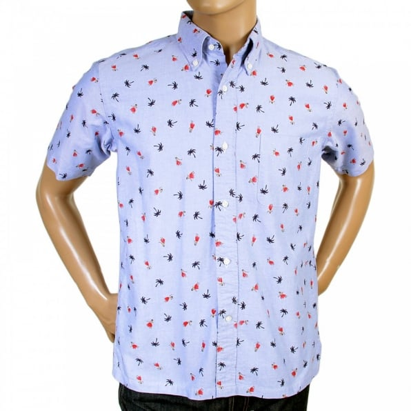 SUN SURF Button Down Collar Short Sleeve Light Blue Cotton Twill Regular Fit Oxford Shirt With Printed Aloha Hula Dancer SS34973