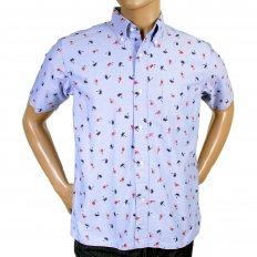 Button Down Collar Short Sleeve Light Blue Cotton Twill Regular Fit Oxford Shirt With Printed Aloha Hula Dancer SS34973