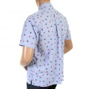 SUN SURF Button Down Collar Short Sleeve Light Blue Cotton Twill Regular Fit Oxford Shirt With Printed Aloha Hula Dancer SS34973