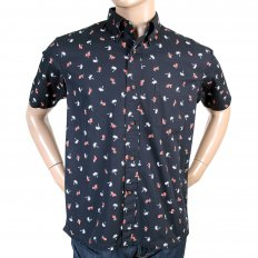 Button Down Collar Short Sleeve Navy Blue Cotton Twill Regular Fit Oxford Shirt with Printed Aloha Hula Dancer SS36249