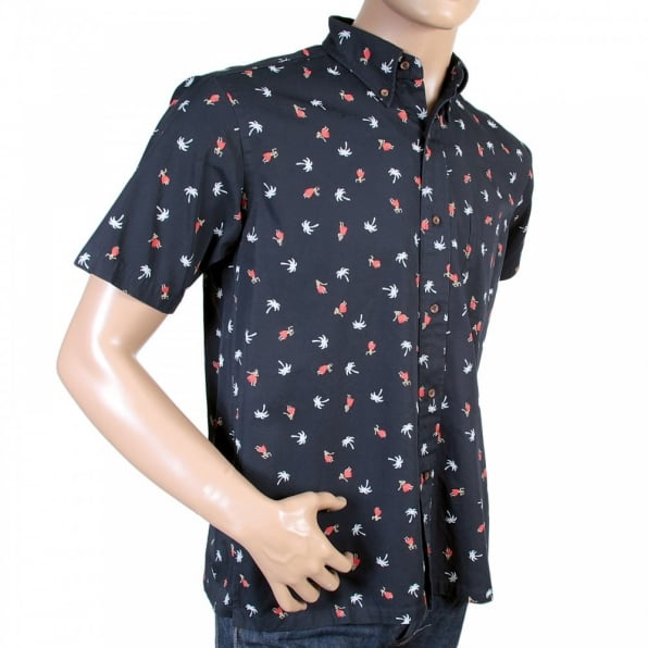 SUN SURF Button Down Collar Short Sleeve Navy Blue Cotton Twill Regular Fit Oxford Shirt with Printed Aloha Hula Dancer SS36249