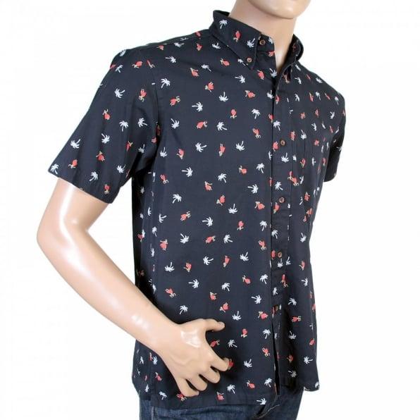 SUN SURF Button Down Collar Short Sleeve Navy Blue Cotton Twill Regular Fit Oxford Shirt with Printed Aloha Hula Dancer SS36249