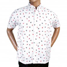 Button Down Collar Short Sleeve Off White Cotton Twill Regular Fit Oxford Shirt With Printed Aloha Hula Dancer SS34973