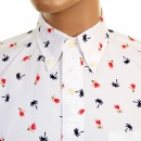 SUN SURF Button Down Collar Short Sleeve Off White Cotton Twill Regular Fit Oxford Shirt With Printed Aloha Hula Dancer SS34973