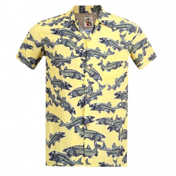 SUN SURF Keoni of Hawaii Yellow SS37463 Limited Edition Short Sleeve Regular fit Mens Hawaiian Shirt with Cuban Collar