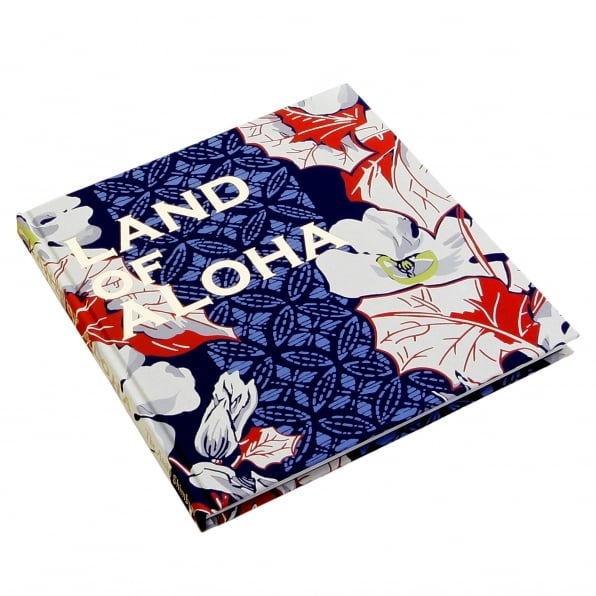 SUN SURF Limited Edition Hardback Aloha Project Image Book with Cover Bound in Blue F/Rayon Hawaiian Shirt Fabric SS01881