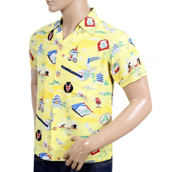 SUN SURF Limited Edition Regular Fit SS36985 Short Sleeve Purple Heart Battalion Printed Cotton Made Mens Yellow Hawaiian Shirt with Wooden Buttons