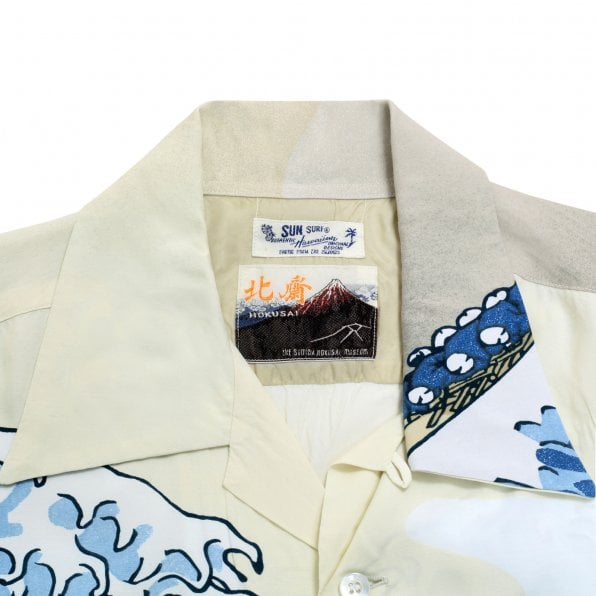 SUN SURF Limited Edition SS37576 Great Wave of Kanaqawa Regular Fit Short Sleeve Off White Hawaiian Shirt for Men