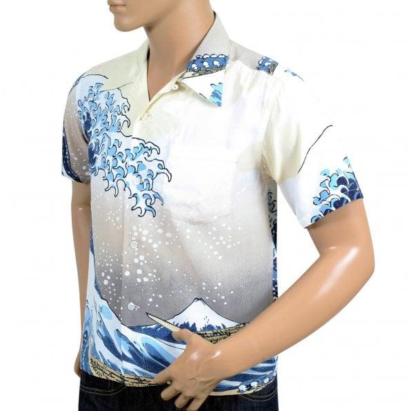 SUN SURF Limited Edition SS37576 Great Wave of Kanaqawa Regular Fit Short Sleeve Off White Hawaiian Shirt for Men