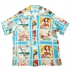 Mens Blue Fly to the Paradise Print Regular Fit Cuban Collar Short Sleeve Hawaiian Shirt SS33326