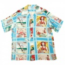 SUN SURF Mens Blue Fly to the Paradise Print Regular Fit Cuban Collar Short Sleeve Hawaiian Shirt SS33326