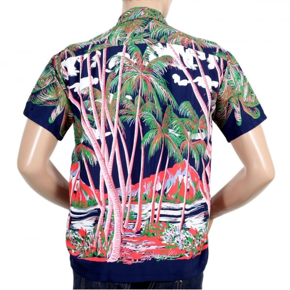 SUN SURF Mens Duke Kahanamoku Coconut Palms & Duamond Head DK36202 Rayon Navy Hawiian Shirt with Two Chest Pockets