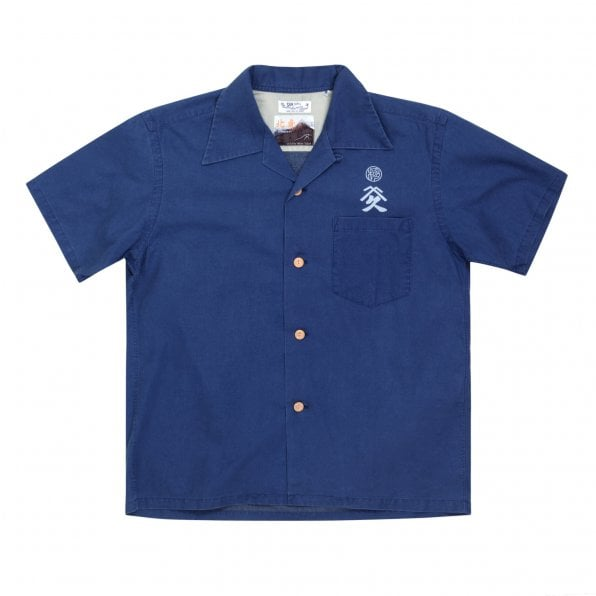 SUN SURF Navy Cotton Regular Fit SS37652 Short Sleeved Limited Edition Mens Hawaiian Shirt with Musha-E Drawing Print