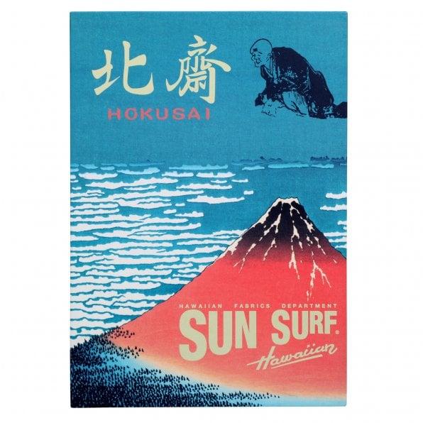 SUN SURF Navy Cotton Regular Fit SS37652 Short Sleeved Limited Edition Mens Hawaiian Shirt with Musha-E Drawing Print