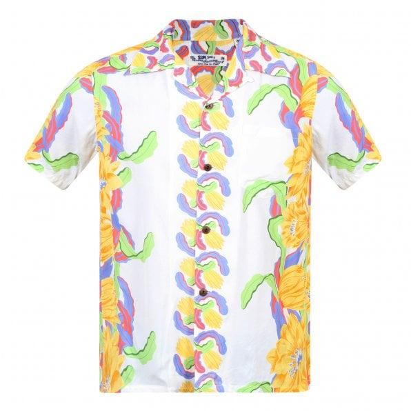 SUN SURF Night Blooming Cereus Border SS33876 White Short Sleeve Regular Fit Hawaiian Shirt for Men