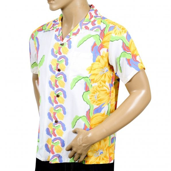 SUN SURF Night Blooming Cereus Border SS33876 White Short Sleeve Regular Fit Hawaiian Shirt for Men