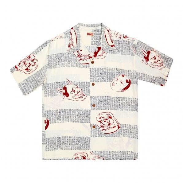 SUN SURF Off-White Rayon SS37790 Mens Regular Fit Short Sleeve Hawaiian Shirt with Noh-Men Print
