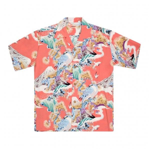 SUN SURF Red Rayon Made Short Sleeve SS37786 Regular Fit Mens Hawaiian Shirt with Hawk Print