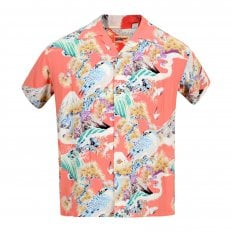 Sun Surf Red Rayon Made Short Sleeve SS37786 Regular Fit Mens Hawaiian Shirt with Hawk Print