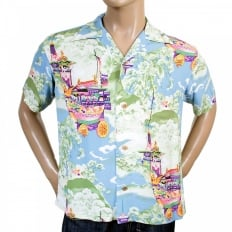 Regular Fit Short Sleeve Blue Rayon Cuban Collar Printed Gion Matsuri Hawaiian Shirt SS36431