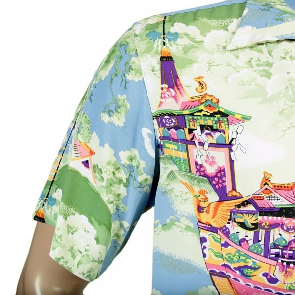 SUN SURF Regular Fit Short Sleeve Blue Rayon Cuban Collar Printed Gion Matsuri Hawaiian Shirt SS36431
