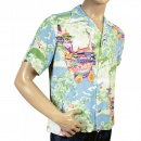 SUN SURF Regular Fit Short Sleeve Blue Rayon Cuban Collar Printed Gion Matsuri Hawaiian Shirt SS36431