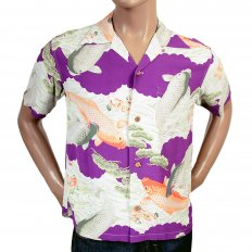 Regular Fit Short Sleeve Purple Rayon Cuban Collar With Printed Koi Hawaiian Shirt SS36434