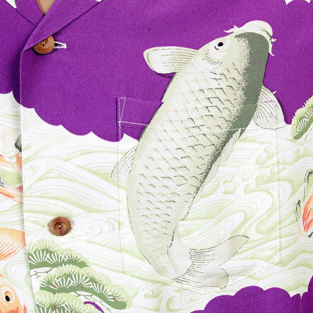 Rayon purple koi carp sun surf hawaiian shirts for men at for Purple koi fish for sale