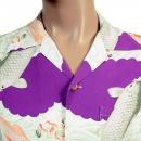 SUN SURF Regular Fit Short Sleeve Purple Rayon Cuban Collar With Printed Koi Hawaiian Shirt SS36434