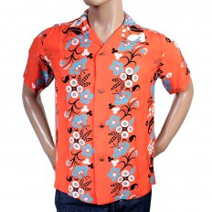 Regular Fit Short Sleeve Red Rayon with Blue Black and White Elsie's Flower Cuban Collar Hawaiian Shirt SS36430