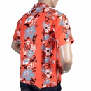 SUN SURF Regular Fit Short Sleeve Red Rayon with Blue Black and White Elsie's Flower Cuban Collar Hawaiian Shirt SS36430