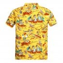 SUN SURF Regular Fit Short Sleeve SS37771 Hawaiian Hula printed Rayon Made Yellow Hawaiian Shirt for Men with Cuban Collar