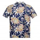 SUN SURF Regular Fit Short Sleeve SS37774 Dreams and Pineapples printed Navy Rayon Made Hawaiian Shirt for Men with Wooden Buttons